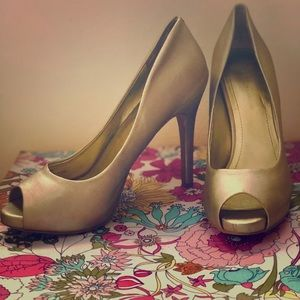 BCBGeneration gold open- toed high heels